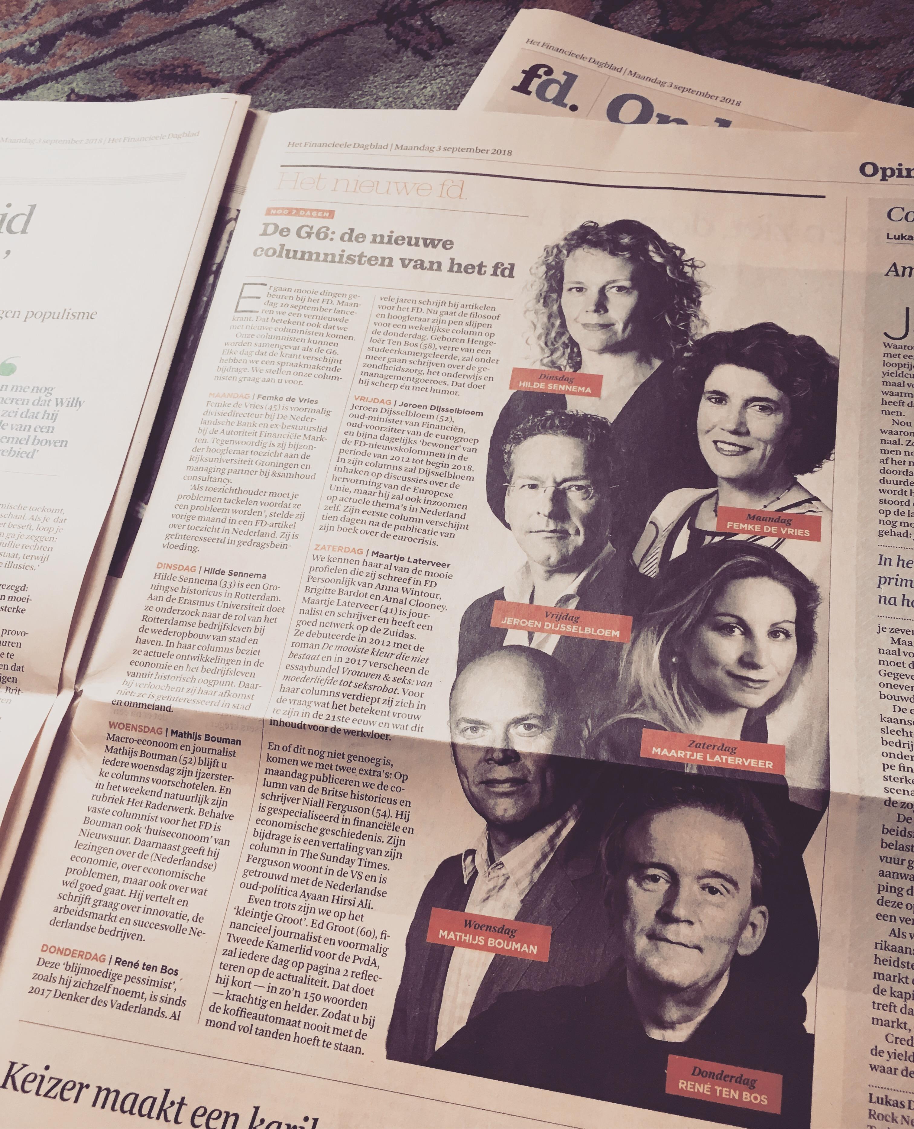 NL: Wekelijkse column voor FD